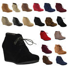 NEW Womens Wedge Bootie Oxford High Heel Ankle Low Boot Shoe Fashion Platform wb
