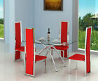 Modern 4 or 6 Seat Dining Set Glass, Faux Leather & Chrome Table & Chairs