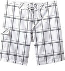 OLD NAVY Mens Plaid Board Shorts Swim Trunks Gray White S, M NEW Free Shipping!