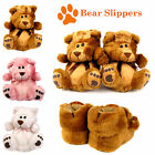 LADIES NOVELTY ANIMAL BEAR GIRLS FUR GIFT MULE SOFT WOMENS SLIPPER FURRY FLUFFY