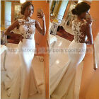 Women's Sexy Backless See-through Party Dress Lace Fishtail Evening Ball Gown