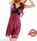 Sexy Purple Nightie Nightwear Chemise Lingerie Nightdress Sleepwear Slip UK M/L