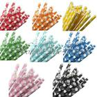 25/50X Polka Dot Paper Drinking Straws For Wedding Birthday Party Decoration