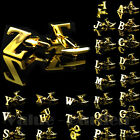 Golden Initials Letters Pure Novelty Business Boys Men's Cufflinks Wedding Gift