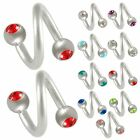 2P Spiral ear eyebrow rings barbell tragus bars steel gem 9EBN-SELECT COLOR&SIZE
