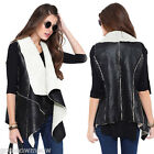 Womens Lady Faux Leather Sleeveless Jacket Coat Parka Outerwear,White Collar