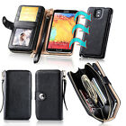 Luxury Magnet Zip Wallet Genuine Leather Case Cover For Samsung Galaxy Note 3 4