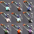 1pc New Different Gemstone Stone Healing Dowsing Pendulum & 7 Chakra Bead Chain