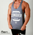 New CONQUER Gym Singlets Stringer Tanks Weightlifting Y Back Racerback Muscle