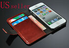 Genuine Leather Wallet Card Holder Flip Stand Case Cover Apple iPhone 5 5S