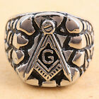 Black Free Mason Ring Freemasonry College Style Stainless Steel Mens Masonic Rin