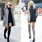 Womens Sexy Back Lace Up Suede Round Toe Block Heeled Over The Thigh Knee Boots