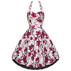 Hearts & Roses White Pink Vintage Floral Long Dress Rockabilly Prom 50's Swing