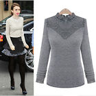 Sexy Lace High Neck Collar Long Sleeve Slim T-Shirt Blouse Top Vest Size XS M L
