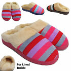 LADIES WOMENS STRIPED SLIPPERS  LUXURY FAUX FUR LINING MULE SIZES 3 4 5 6 7 8