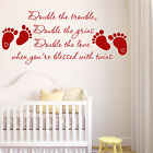 TWINS BABY ROOM WALL ART QUOTE NURSERY VINYL STICKER BOY GIRL TRANSFER GIFT