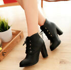 Retro Womens PU Leather Block Causal High Heels Shoes Pumps Lace Up Ankle Boots