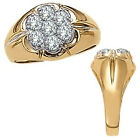 0.25 Carat White Diamond Designer Cluster Engagement Mens Ring 14K Yellow Gold