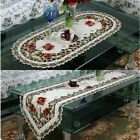 1pc Elegant Flower Embroidery Lace Table Runner Cloth Home Wedding Table Decor