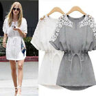 Women Sexy Lace Floral Short Sleeve Casual Chiffon Cocktail Evening Mini Dress