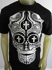 Sugar Skull Mustache party dead Muerto tee shirt men's black Choose A Size