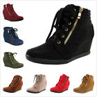 NEW Women's Fashion Lace Up Zipper High Top Ankle Wedge Heels Sneaker Booties