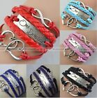 Infinity Love Heart one direction Friendship Silver Leather Charm Bracelet