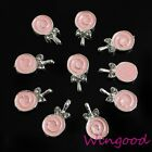 10/50/100x Pink 3D Lollipop Candy Alloy Rhinestone Nail Art Manicure Decoration