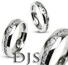 316L Stainless Steel Eternity Clear CZ Ring Wedding Band Size 4 to13.5