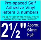 """QTY of: 18 x 2½""""  64mm HIGH STICK-ON  SELF ADHESIVE VINYL LETTERS & NUMBERS"""