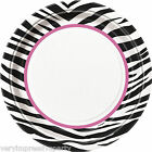 PINK & BLACK ZEBRA PLATES GIRLS NIGHT OUT BIRTHDAY PARTY DECORATIONS