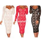 Women's Sexy Bodycon Lace Long Sleeves Padded Midi Dress Party Club Dress