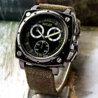 Cool Army Military Round Big Dial Quartz Wristwatch Hour Canvas Band Men Jf Gift