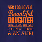 Gifts For Dads Gun Shovel And Alibi dad daddy father husband  t-shirt ALL SIZES