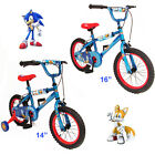 "Children's / Kids Sonic The Hedgehog BMX Bike 14"" 16"" - New Range - Steel"