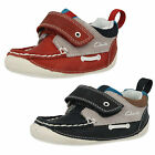 Boys Clarks Cruiser Deck Navy Or Red Leather Velcro Pre-Walking Shoes