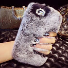 Luxury Winter Warmer Rex Rabbit Fur Back Case Cover For iPhone 6 6s Plus 5s 5 4S