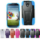 For Samsung Galaxy S4 Double Layer Hard Shell Soft Silicon Case w/ Kickstand
