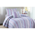 BEAUTIFUL SHABBY PINK CHIC BLUE LAVENDER PURPLE LACE RUFFLE FLORAL QUILT SET image