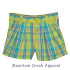 CARTER'S Girls ~ Plaid Pull On Shorts ~ 100% Cotton ~ Green ~ 12 months ~ NEW
