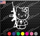 Hello Kitty Ar 15 Punisher Tactical Car Truck Laptop Window Decal Veteran Made