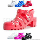 Brand New Womens Retro Jelly Buckle Closure Medium Heel Sandals