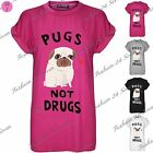 Womens Ladies Pugs Not Drugs Heart Print Baggy Oversized Cap Sleeve T Shirt