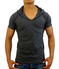 MENS PLAIN CHARCOAL GREY HOODED T-SHIRT SLIM FIT FASHION CASUAL MUSCLE TANK GYM