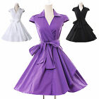 NEW VINTAGE 50'S 60'S SWING RETRO PROM PINUP WRAP EVENING PARTY DRESS