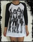 Unisex Kiss Raglan 3/4 Length Sleeve Baseball T-Shirt (Vest Tank Jumper)
