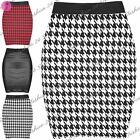 Womens Ladies Dogtooth Print PVC PU Stretchy Bodycon Short Mini Skirt Plus Size