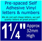 "QTY of: 14 x 1¼"" 32mm HIGH STICK-ON  SELF ADHESIVE VINYL LETTERS & NUMBERS¼"