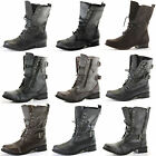 CHILDRENS GIRLS KIDS MILITARY COMBAT ARMY STYLE WORKER LACE UP ANKLE BOOTS SIZE