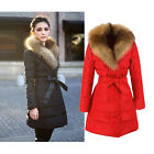 K5Y Women's Ladies Winter Coat Double Breasted Fur Collar Warm Silm Down Jacket
